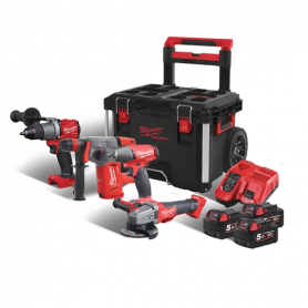 KIT 4 ATTREZZI FUEL + 3 BATT. MILWAUKEE M18 FPP4A-503P