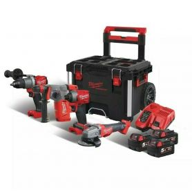 KIT 4 ATTREZZI FUEL + 3 BATT. MILWAUKEE M18 FPP4B-503P